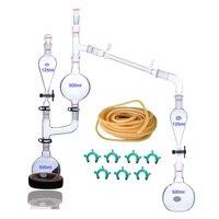 FLYYUEWO 25 Pcs New Lab Essential Oil Steam Distillation Apparatus Glassware Kits Water Distiller Purifier w/Separators Funnel   -