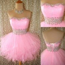 Heißer Verkauf Kurze Rosa Ballkleider 2015 Mini Cocktailkleider Graduation Dresses Party Kleider Kristall Pailletten Perlen Ballkleid