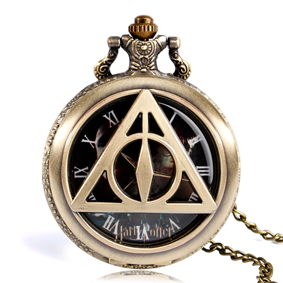 Retro Bronze Triangle The Deathly Hallows Lord Analog Quartz Pocket Watch Necklace Collectibles for Men Women Kids