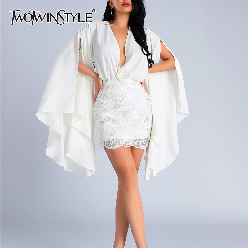 TWOTWINSTYLE Sexy Two Piece Sets Women Split Flared Sleeves Shirt Blouse Tops Female High Waist Embroidery Sequined Mini Skirts