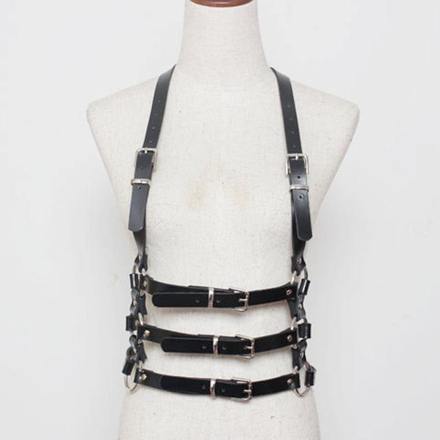 Mulheres cintos de moda do punk de metal Harajuku couro artificial corpo harness ajustável três linhas de cintura cintas cinto de aperto de cinto