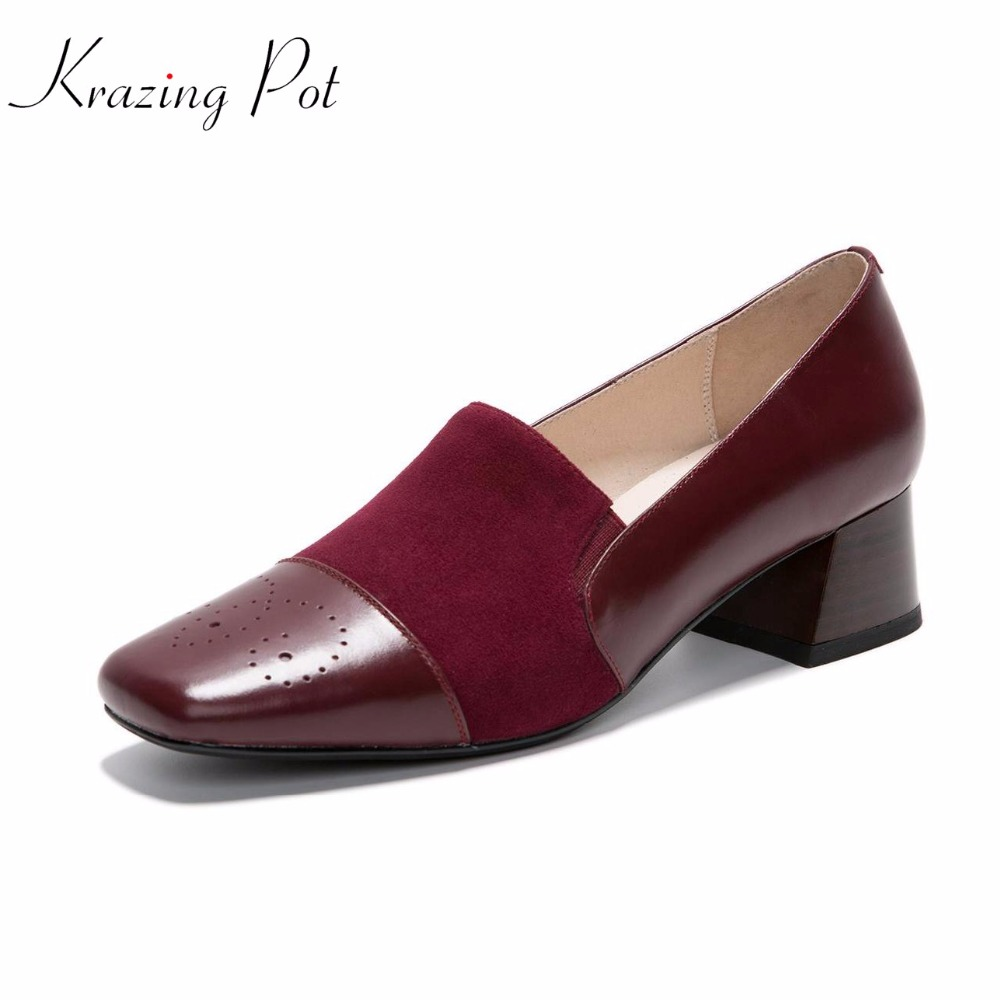 Krazing pot 2018 women fashion cow leather kid suede square toe preppy style thick high heels summer pumps office lady shoes L26 2017 shoes women med heels tassel slip on women pumps solid round toe high quality loafers preppy style lady casual shoes 17
