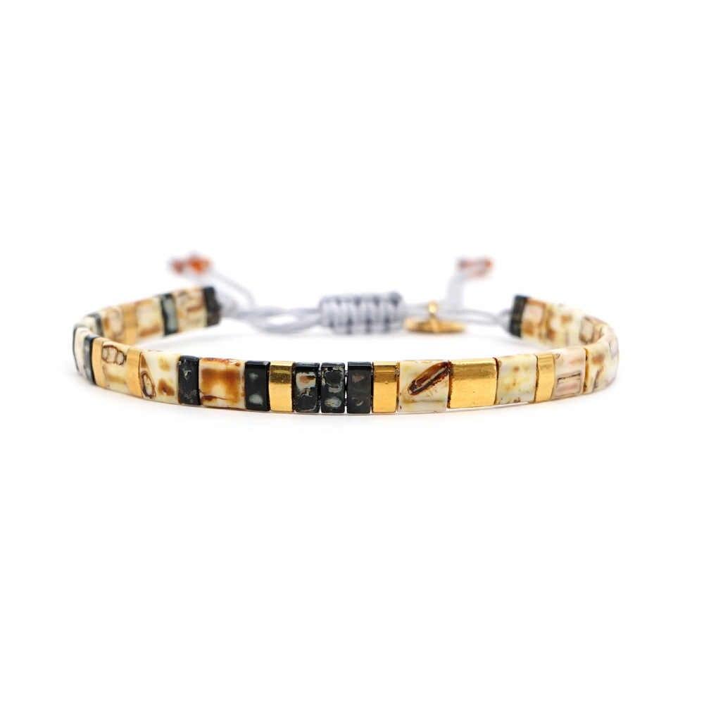 JOYE wysokiej jakości czeski Handmade MIYUKI Tila koraliki bransoletka złoty różowa para bransoletka Trendy regulowane męskie bransoletki jako prezent