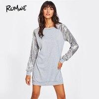 ROMWE Contrast Sequin Sleeve Casual Dress Grey Patchwork Women Mini Shift Dresses Fall 2017 Fashion Punk