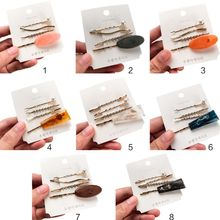 4Pcs/Set Korean Wavy One Word Barrettes Women Irregular Resin Marble Vintage Hairpins Side Bangs DIY Styling Jewelry Hair Clips