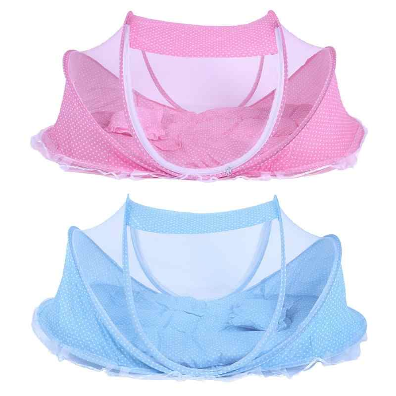 3pcs/Set Folding Baby Netting Bed Sleep Cushion Pillows Portable Crib Collapsible Anti-Mosquito Insect Netting Bed for Baby Care