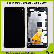 High quality Full lcd display Touch Screen Assembly + Bezel Frame + Tools Replacement For Sony Xperia Z1 Mini Compact D5503 M51W