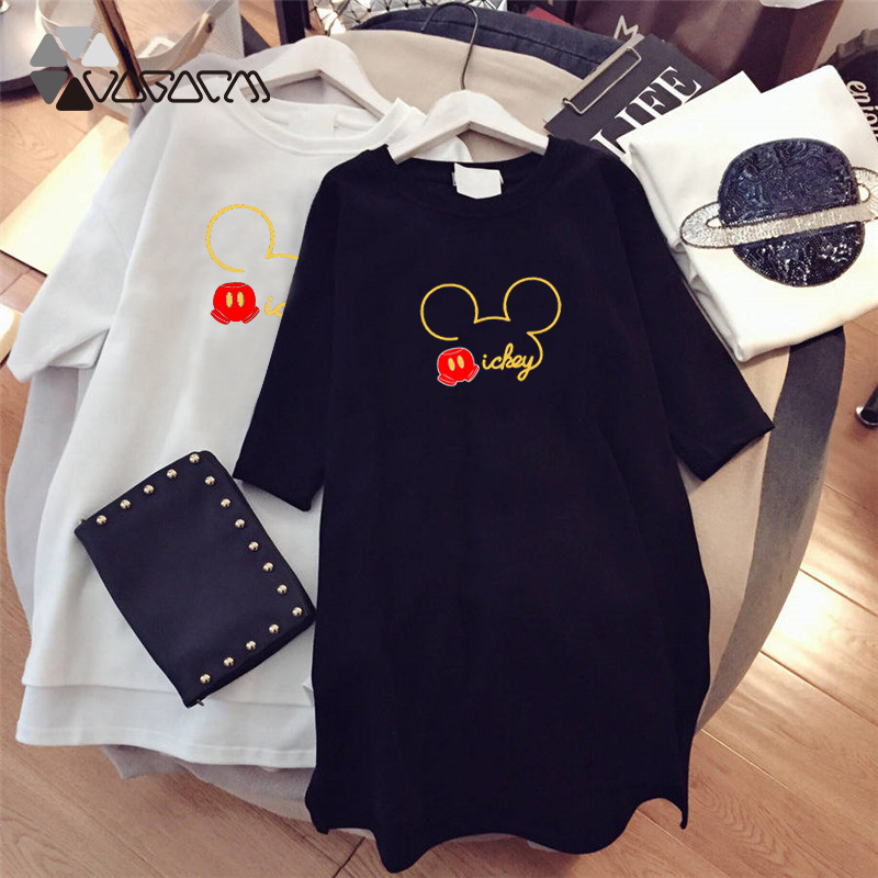 Summer Fashion Women Dresses Minnie Mickey Mous Cartoon Print Clothes Loose Women Clothing Big Size Cute Mini Dress Black