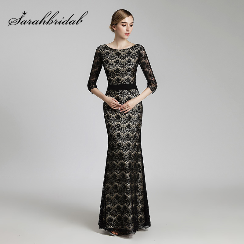 Vintage Lace Pattern Black Trumpet Evening Dresses with Full Length ...