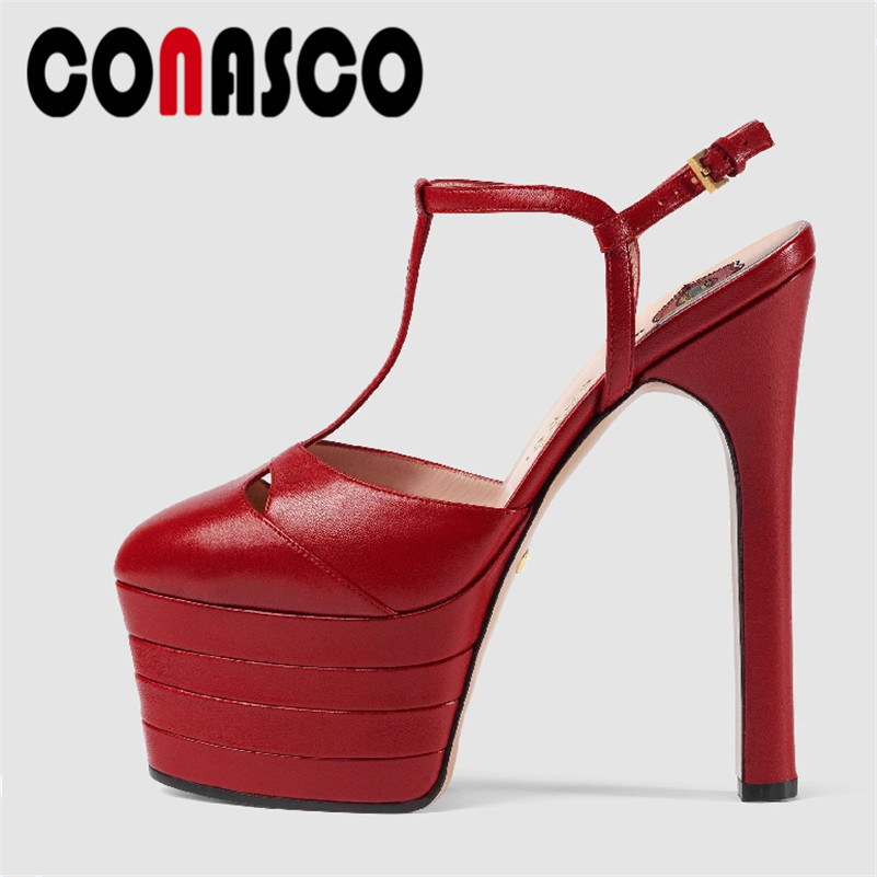 CONASCO 2019 Fashion Brand New <font><b>Women</b></font> Rivets 16CM <font><b>High</b></font> <font><b>Heels</b></font> Summer <font><b>Sandals</b></font> Wedding Party Shoes Woman Platforms <font><b>Sexy</b></font> Prom <font><b>Pumps</b></font> image