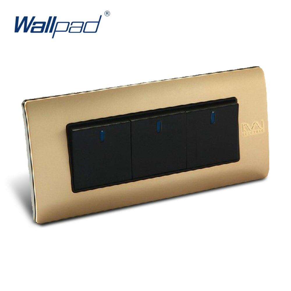 Free Shipping, Wallpad Luxury Wall Switch Panel, 3 Gang 2 Way Switch, Plug, Socket, 154*72mm, 10A, 110~250V  free shipping wallpad luxury wall switch panel 6 gang 2 way switch plug socket 197 72mm 10a 110 250v