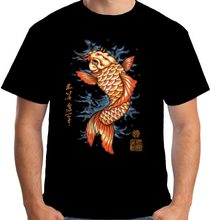 Mens Carpa Koi T Shirt Tattoo Stile Giapponese Oriental 2019 Uomini di Estate a Maniche Corte Abbigliamento Fitness O-Collo Top Tee(China)