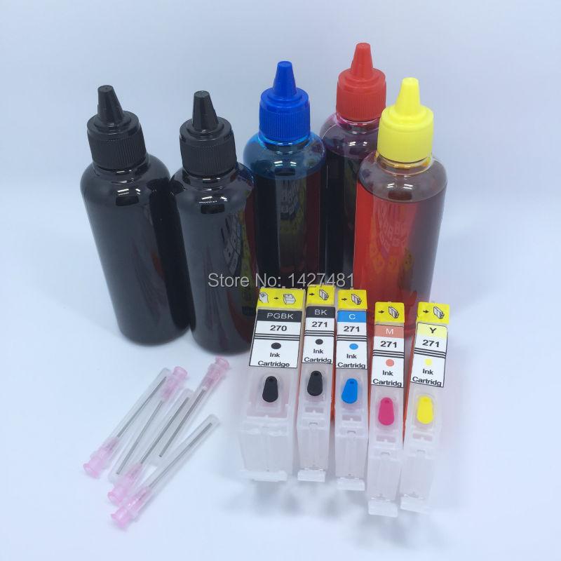 5*Refill Dye ink + Refillable inkjet cartridge PGI-270 CLI-271 PGI270 For Canon PIXMA MG5720 MG5721 MG5722 MG6820 MG6821 MG6822 refillable pgi425 cli425 with chip for canon pgi 425 cli 426 ink cartridge for canon pixma mg5140 mg5240 mg5340 ip4840 ip4940