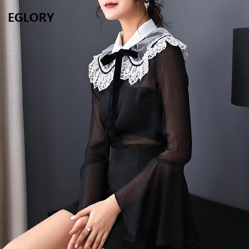 Haute qualité femmes Blouses 2018 automne mode chemise dames blanc dentelle Patchwork Flare manches Vintage hauts femme en mousseline de soie Blouse