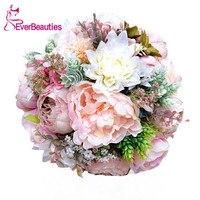 Wedding Bouquets For Brides Outside Beach Wedding Buque De Noiva Pink Artificial Wedding Flowers Brooch Bridal