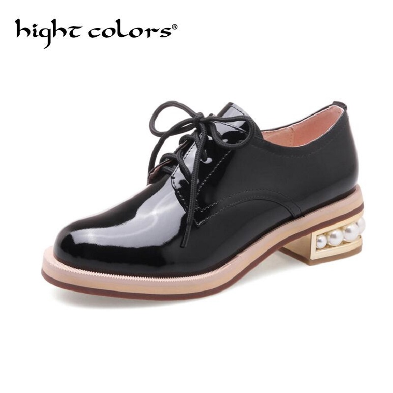 Black Patent Leather Oxford Shoes For Women New Style Wing Tip Oxford Shoes Chaussures Femme Brogues Flats Shoes Size 34~43 weiqiaona crystal women shoes women flats new style ballet princess shoes patent shoes casualfashion shoes size 31 43