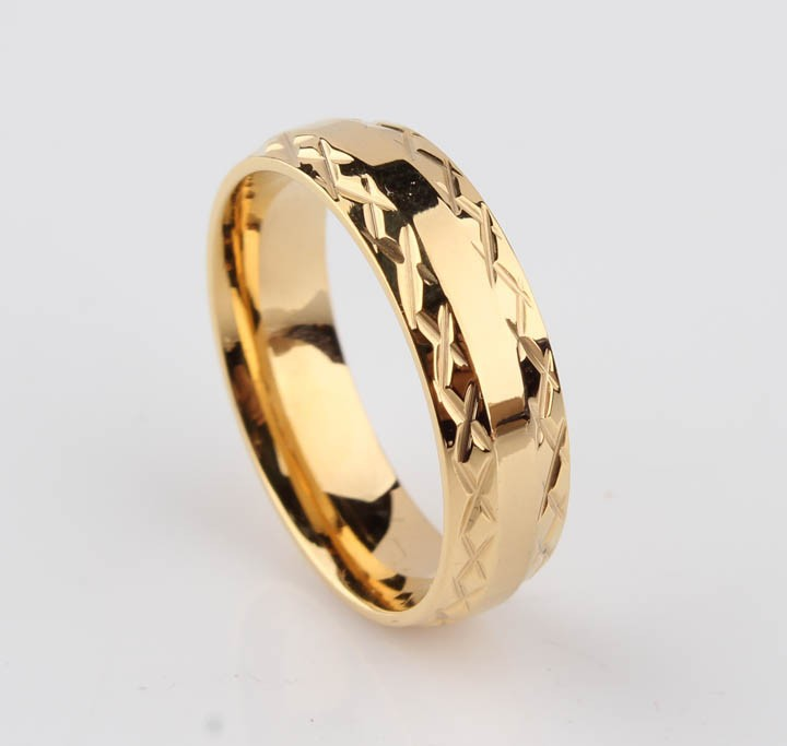 gold color lace wedding rings for men women 6mm