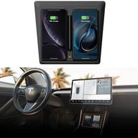 Tesla Model 3 Center Console Wireless Charger Pad with Dual USB Ports Dual Phones Charging for iPhone X XS XR 8 S9 S9+