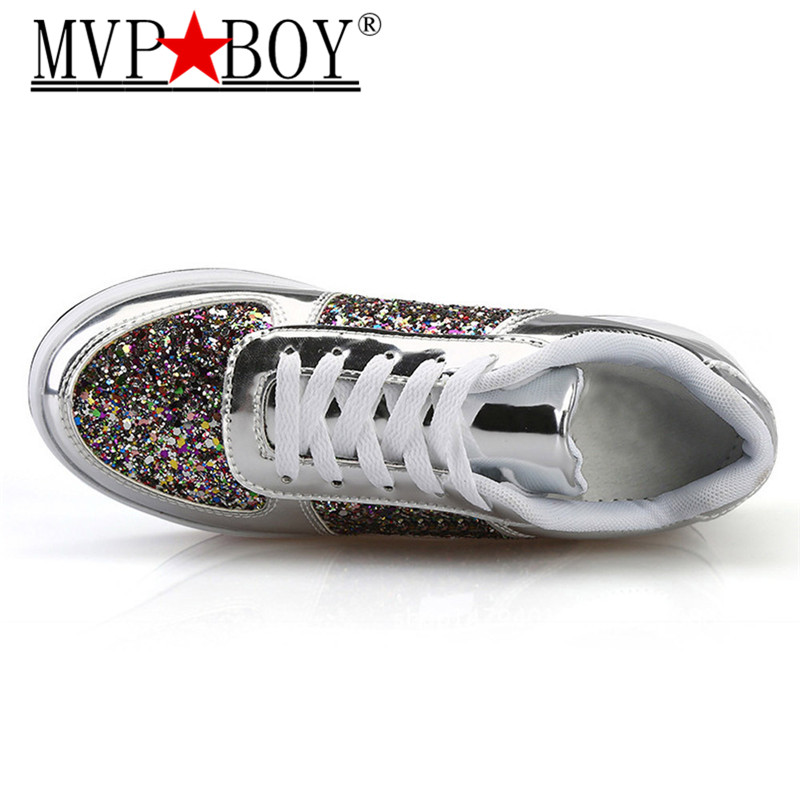 MVP BOY 35 41 Bling Platform Sneakers Women Fashion Golden Sequin Waterproof Women Flat Shoes Spring Autumn Lace Up Casual Shoes in Women 39 s Vulcanize Shoes from Shoes