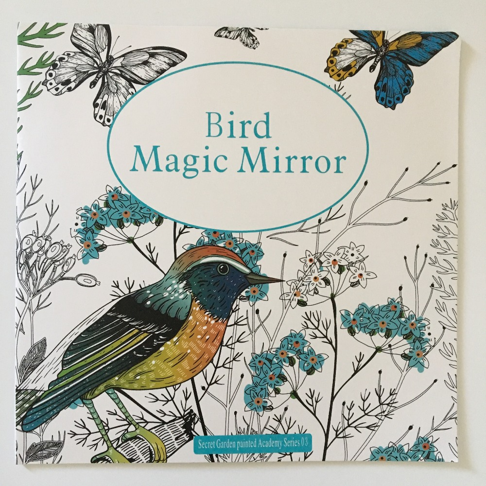 24 Pages Bird Magic Mirror Coloring Book For Adult Secret