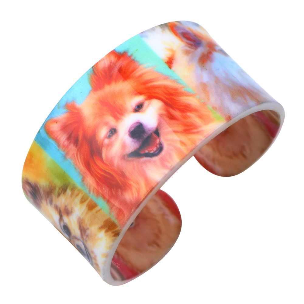 Weveniアクリルデザイン愛広いポメラニアン犬腕輪ブレスレットジュエリー女性のための2017新しい動物バングルジュエリーギフトのための女の子
