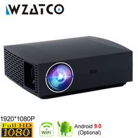 Wzatco f30 completo hd 1920x1080 android 9.0 opcional led projetor 3d 5500lumens wifi bluetooth casa teatro beamer proyector 4 k
