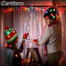 Теплый светодиодный светильник для рождественской елки, вязаная шапка для детей и взрослых, Уродливый Рождественский свитер, Новогодняя шапочка