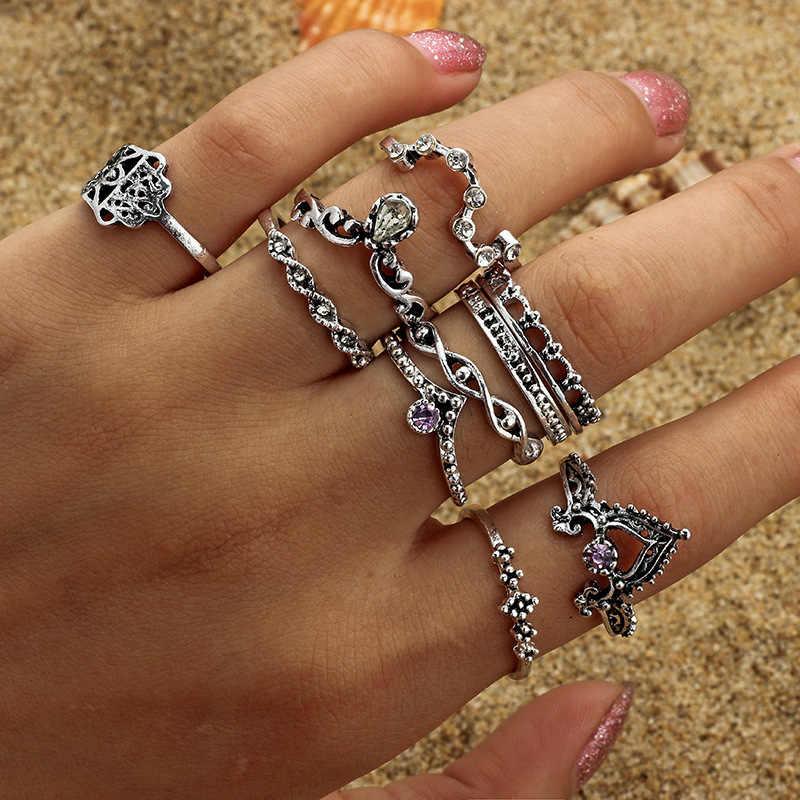 34 สไตล์ฤดูหนาว Tie - in Vintage Knuckle แหวนผู้หญิง Boho ดอกไม้เรขาคณิตชุดแหวนคริสตัล Bohemian นิ้วมือเครื่องประดับ