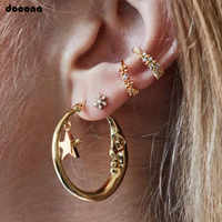 Docona Gold Color Tiny Star Crystal Flower Moon Round Stud Earrings Set for Women Punk Geometric Piercing Earring Ear Cuff 8060