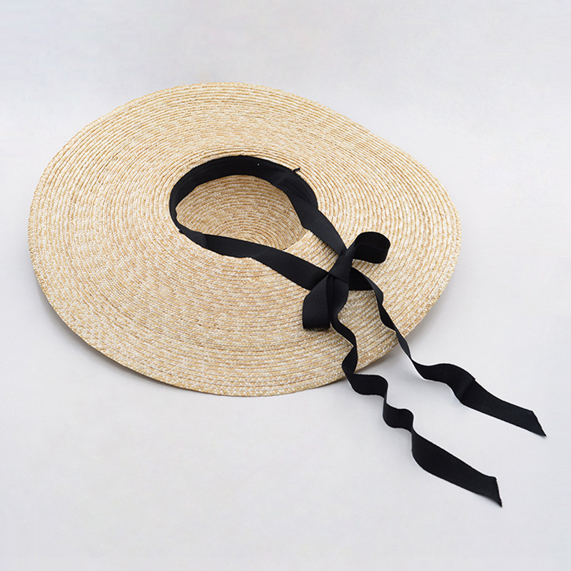 Aliexpress.com   Buy Summer Boater Hats for Women Wheat Straw Beach Hat  with Wide Brim Hat with Ribbon Tie 671073 from Reliable boater hat  suppliers on ... 5e37b7464a2