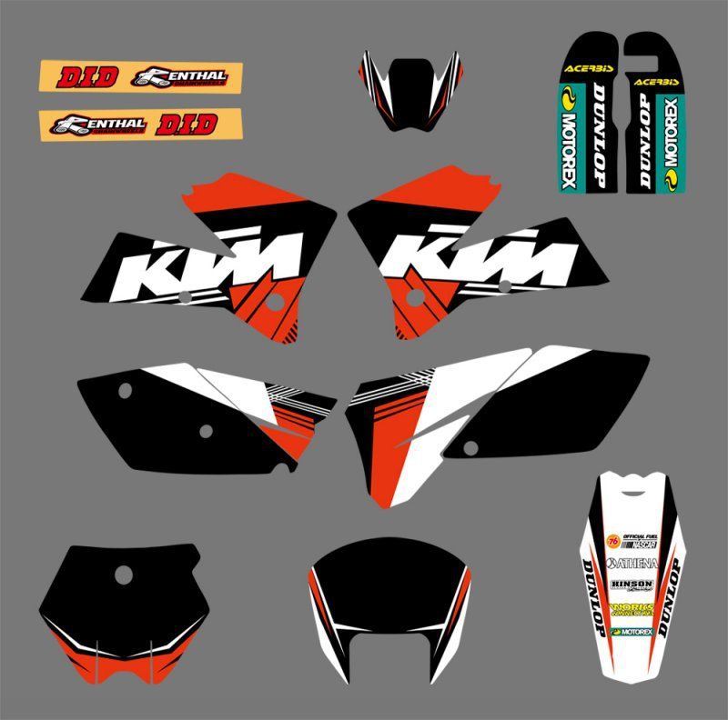 0073 Black White NEW TEAM GRAPHICS WITH MATCHING BACKGROUNDS FIT FOR SX 125 250 380 400