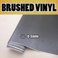 BEST Quality Dark Grey BRUSHED STEEL METALLIC Vinyl Vehicle Car Wrap Film Roll Bubble Free Size:1.52X30M/Roll