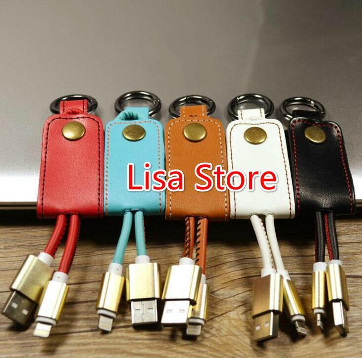 Free Ship 20pcs USB Cable Leather Keychain mini USB Cable