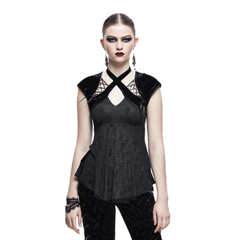 Steampunk Gothic Short Sleeve Summer Halter Women's T-shirt Punk Style