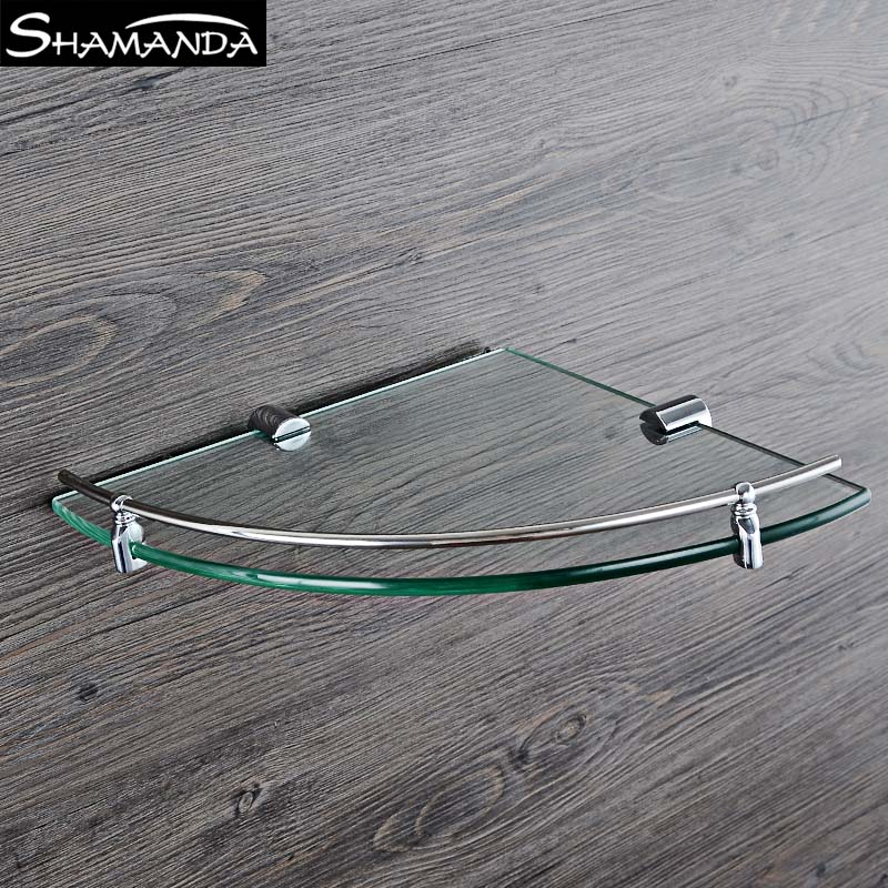 New Real Free Shipping Solid Brass Chrome Single Bathroom Glass Shelf Wall Mounted Triangular Corner Rack Bathroom Accessories now foods plant enzymes 120 veg capsules free shipping