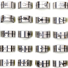 Mix Wholesale 12Pcs/lot 316L Stainless Steel Rings Jewelry for Men Women Silver Wedding Ring Lot Fashion