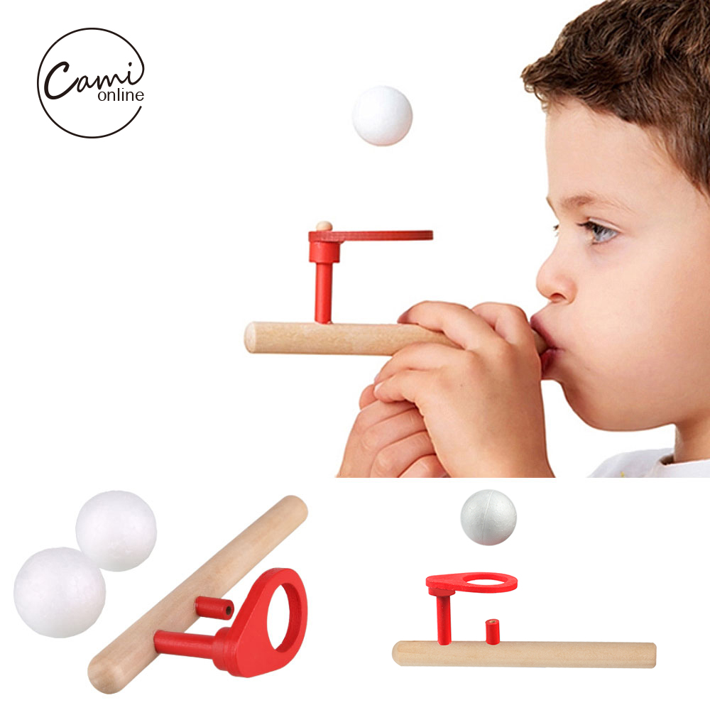 kids wooden blow ball rod toys baby puzzle blowing ball balance