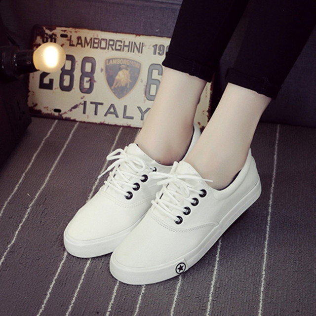3 Colors New Brand Fashion Casual Shoes Women Flat Lace-Up Canvas Shoes Casual 2016 Low Style Comfortable Women Shoes