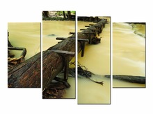 4 Piece Modern Wall Pictures Set Morning Seascape Sunrise Painting Picture Canvas Art Wooden Bridge Panel For Bedroom JO13-04 flavoring for panel fresh way morning dew sport goal ksp02