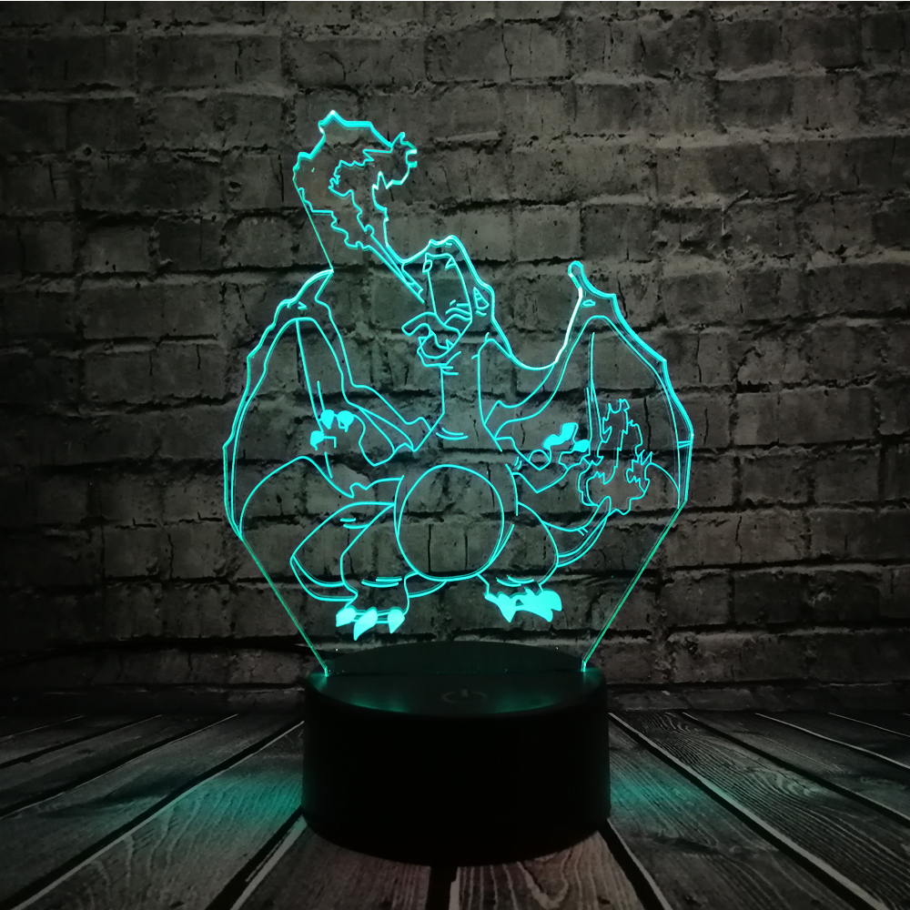 Novelty Cartoon Pokemon Charizard 3D Lamp USB Night Light Salamence LED RGB Lighting Bulb Luminaria Kid Toy Christmas Gift