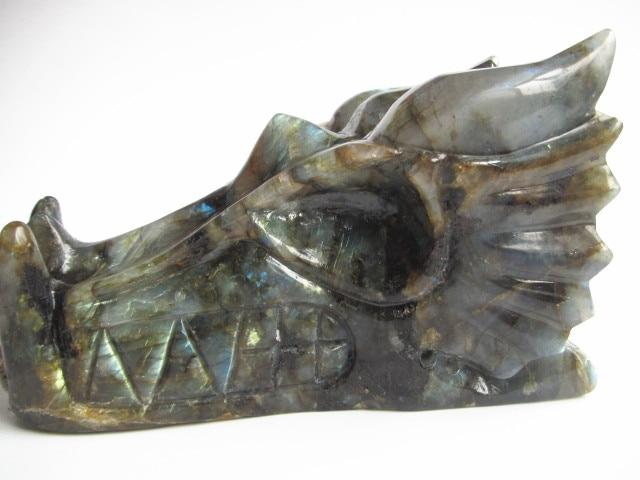 1025g Natural Labradorite Carved Crystal Dragon Skull Head Carving YL J0102