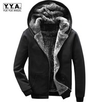 Winter Thick Fleece Lining Mens Hoodie Sweatshirts Warm Large Size M 6XL Male Streetwear Coat Casual Loose Fit Baggy Overcoats