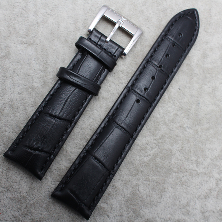 Alligator Grain Leather Stainless Steel Clasp Watch Band Strap For Brand Free Shipping
