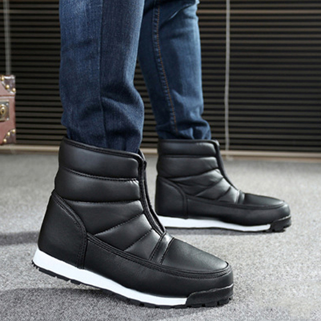 Quanzixuan Mężczyźni Zimowe Buty Wodoodporne antypoślizgowe Mężczyzn Platformy Buty Śniegu Ciepłe Botki Mężczyźni Pracują Buty Plus Size 36-45