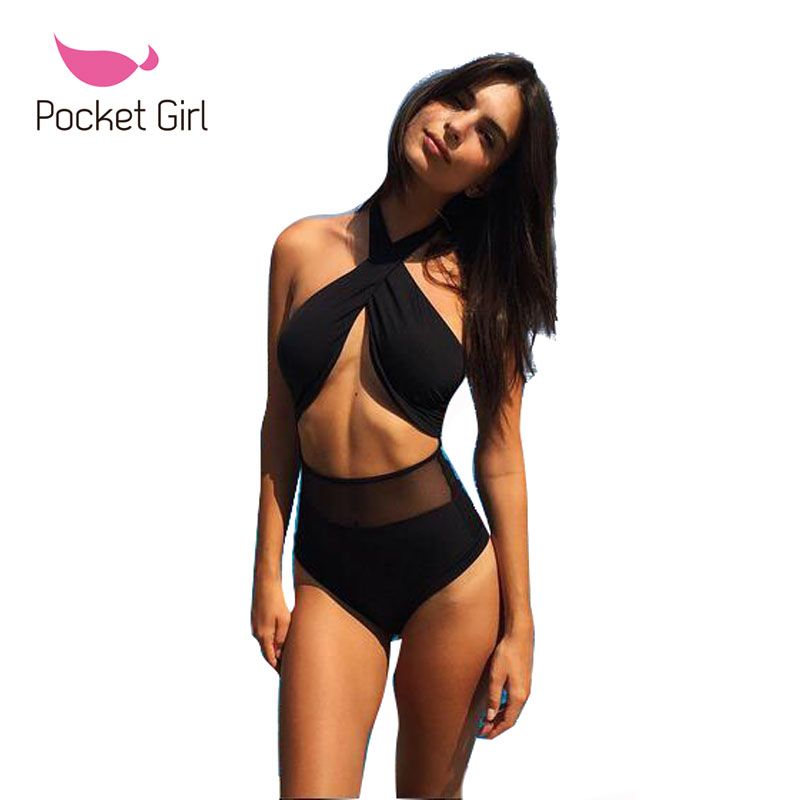 2017 Sexy Women Retro One Piece Mesh Swimwear Biquini Thong Strap High Waist Padded Black Swimsuit Bangdage Beachwear Trikini sexy spandex one piece underwear bathrobe nightwear w t back waist belt for women black