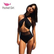 2017 Sexy Women Retro One Piece Mesh Swimwear Biquini Thong Strap High Waist Padded Black Swimsuit Bangdage Beachwear Trikini
