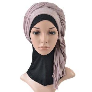 Image 3 - Tek parça başörtüsü eşarp maksi şal eşarp kadınlar müslüman hicap İslami bayan çaldı splid düz jersey başörtüsü 70x160 cm