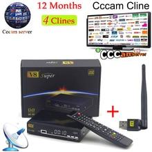 1 год CCcam Европа freesat V8 супер + 1 шт. USB Wi-Fi DVB-S2 Поддержка powervu спутниковый ресивер HD Full 1080 P 4 резких перемен температуры CCcam сервер