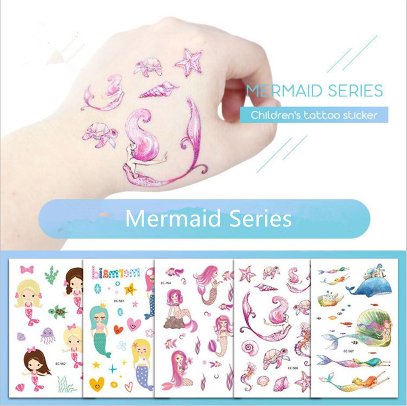 Cartoon Hat 5pcs Mermaid Series Children's Temporary Tattoos Stickers  Mermaid Waterproof Body Art Sleeve Tattoo  Cartoon Hat