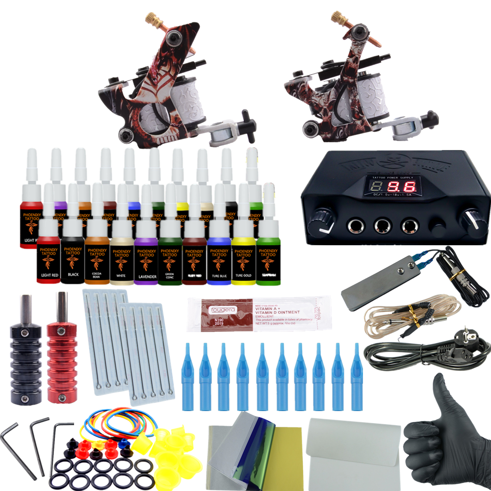 Professional Tattoo Kit 2 Tattoo Machines 6 Colors Ink Set Power Supply Box Beginner Body Art Supplies Needles Tips Kit professional tattoo kits liner and shader machines immortal ink needles sets power supply